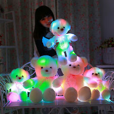 Cute Colorful Flash LED Light Shining Plush Teddy Bear Doll Stuffed Toy Gift