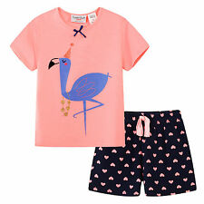 Pyjamas Girls Summer Pjs Set (sz 3-7) Pink Flamingo Sz 3 4 5 6 7