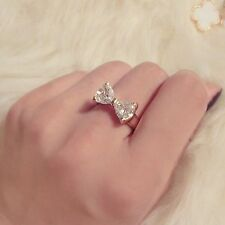Hot Fashion Ladies Crystal Diamond Ring Finger Bow Engagement Rings Jewelry