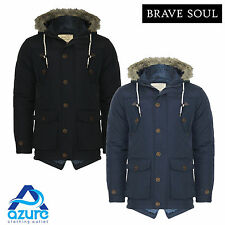 Mens Brave Soul Faux Fur Hooded Parka Parker Padded Lined Winter Jacket Coat