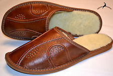 Mens Real Brown Leather Wool Slippers Shoes Sandal Handmade Poland Warm Soft New