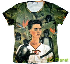 FRIDA Mexican Self Portrait Surrealism Monkey T SHIRT FINE ART PRINT PAINTING