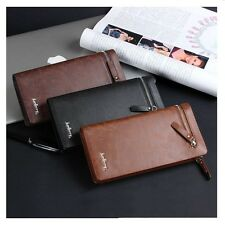 Mens Genuine Leather ID Card Holder Zipper Wallet Purse Clutch Checkbook Handbag