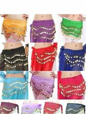 NEW Belly Dance Gold Coin 3 Rows Belt Hip Scarf Skirt Wrap Chain Dancing Costume
