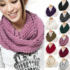 New Women Knitted Hood Neck Circle Cowl Wool Scarf Shawl Wrap Loop Winter Warmer