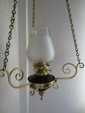 ALL ORIGINAL ANTIQUE VICTORIAN(C1880) HINKS CRANBERRY GLASS SUSPENSION OIL LAMP
