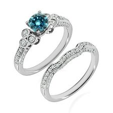 1 Carat Blue Diamond Wedding Promise Solitaire Design Ring Band 14K White Gold