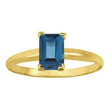 0.5 Carat Blue Emerald Diamond Solitaire Engagement Bridal Ring 14K Yellow Gold