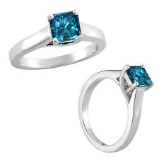 0.5 Carat Blue Princess Diamond Solitaire Anniversary Ring 14K White Gold