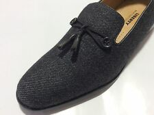 Mens Liberty Dressy Casual Loafers Canvas Wool Feel Fashion Shoes Tassels Black