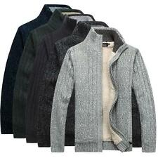 New Men's Fleece Jacket Wool Cardigan Fur Lining Thick Sweater Knitted Coat R29