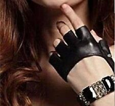Women Men Half Finger Lady Leather Fingerless Driving Show Jazz Gloves