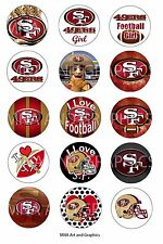 san francisco 49ers football inspired themed bottle cap IMAGES 1 inch circles