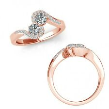 1 Carat Diamond Forever Us Two Stone Fancy By Pass Crossover Ring 14K Rose Gold