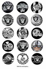 Oakland Raiders football inspired themed bottle cap IMAGES 1 inch circles