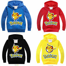 Kids Boys Girls Pokemon Pikachu Cotton T-Shirts Hoodies Pullover Sweatshirt Tops