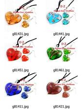 g814m36 Lady Love Heart Bead Lampwork Glass Murano Pendant Necklace Earrings set