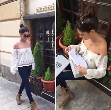 BNWT Zara Off Shoulder Embroidered Top Blouse Size S, M