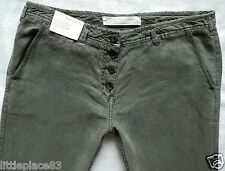 BNWT NEXT new Ladies summer khaki slouch wide relaxed linen trousers 12 14 R L