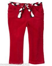 GYMBOREE Girls Pants Size 3T PENGUIN CHALET Velvety Cotton Blend Toddler Red NEW