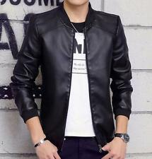 Fashion Mens Slim Fit Stand Collar motor biker zip up Faux Leather Zip Jacket