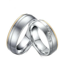 His Her matte stainless steel bands couples cubic zirconia wedding ring Sz 5-12