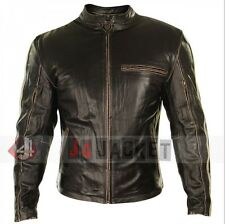 Vintage Motorcycle Mens Real Distressed Brown Cafe Racer Leather Jacket - All Si