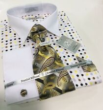 Men's DANIEL ELLISSA French Cuff Dress Shirt White/Brown Tie Hanky Cufflinks Set