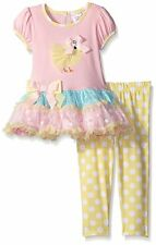 SWEET HEART ROSE Girls Size 3T Chick Applique Mesh Tutu Dress Legging Set Outfit
