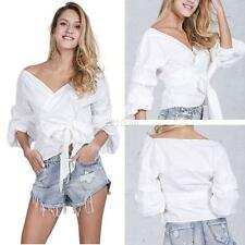 Sexy Women V Neck Off Shoulder Top Shirts Long Sleeve Casual T-shirt Blouse Tops