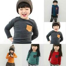 Boys Girls Cotton Blend Long Sleeve T-shirt Toddler Kids Blouse Stretch Tops UK