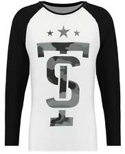 Twisted Soul Mens White Long Sleeve Printed Tee Top Casual Crew Neck T-shirt