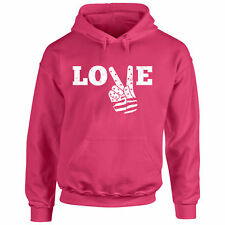 Sweater Love Peace S Hoodie Hand T Flag Freedom Sign Funny Gift Music Pullover V