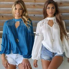 Fashion Womens Loose Casual Long Sleeve Lace Shirt Blouse Ladies Tee Tops LM