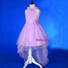 High Halter Flower Girl Dress Up w/ Train Wedding Pageant Party Size 2T-10 FG338