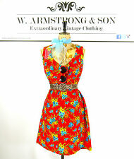 Women's Red VINTAGE 70s FLORAL PRINT BeeHive Swingin MOD GoGo Ditsy Dress UK 14