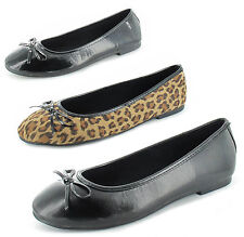 Womens Slip On Ballerinas Flats Comfort Ladies Ballet Loafers Bow Dolly Pumps