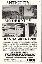 1957 Ethiopian Airlines, TWA: Antiquity, Modernity Print Ad (11979)