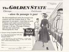 1957 Rock Island Railway: Golden State Chicago, California Print Ad (20699)