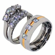 His Hers 3 PCS Stainless Steel hers Wedding Set and his 3 CZs Gold Stripe Band