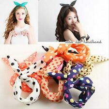 Stylish Girl Lady Rabbit Bow Tie Wired Headband Hair Band Wrap Scarf hair band