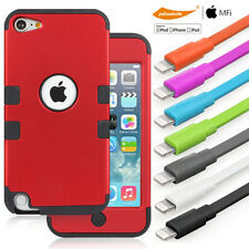MFI Colorful Lightning Cable+Heavy Duty Hybird Case Guards iPod Touch iTouch 5 6