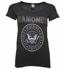 Official Women's Charcoal Ramones Silver Diamante T-Shirt from Amplified