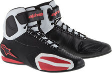 ALPINESTARS FASTER Road/Street Motorcycle Shoes (Black/White/Red) Choose Size