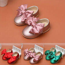 New Girls Princess Shoe Baby's PU Big Bow Bright Toddler Shoes 0-2Y