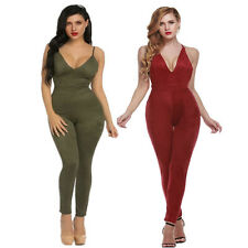 Women Sexy V-neck Blackless Spaghetti Strap Jumpsuit&Romper Bodycon Long Trouser