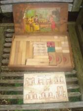 Victorian Wooden Building Blocks, Complete In Box, Stunning Antique Toy