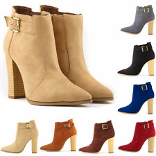 Platform Faux Velvet Suede High Heels Pump Womens Pointed Toe Winter Ankle Boots