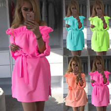 Sexy Womens Ladies Off Shoulder Ruffle Casual Loose Party Clubwear Mini Dress
