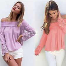 Fashion Women Long Sleeve Shirt Casual Lace Blouse Loose Cotton Top T Shirt LM2